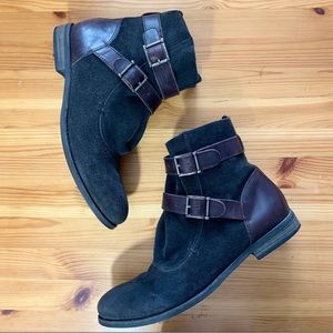 Matisse Gray Suede Leather Buckle Ankle Boots